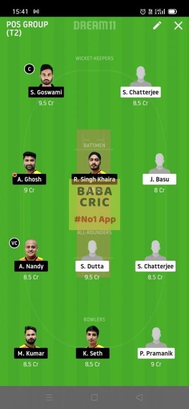 KAC vs EBC (Roxx Bangal T20 challenge) Dream11 Grand League Team 3