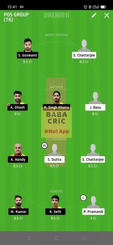 KAC vs EBC (Roxx Bangal T20 challenge) Dream11 Grand League Team 5