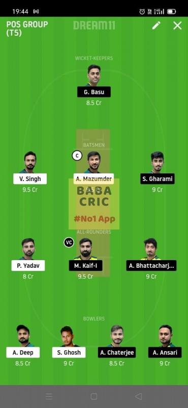 MBC vs TOC (Roxx bangal T20 Challenge) Dream11 Grand League Team 1
