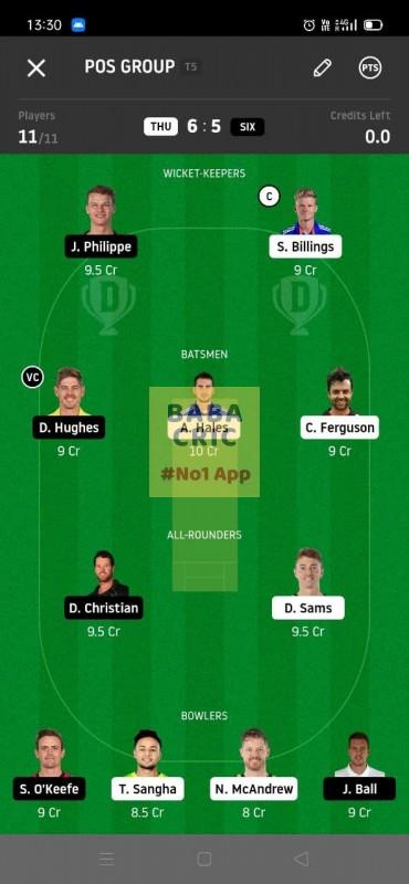 THU vs SIX (KFC Big Bash League T20) Dream11 Grand League Team 1