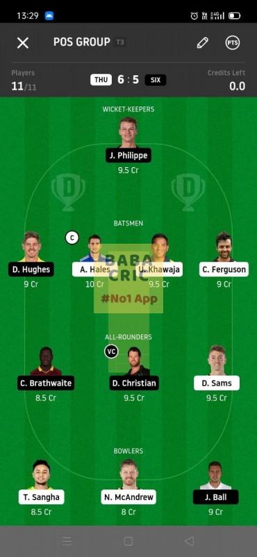 THU vs SIX (KFC Big Bash League T20) Dream11 Grand League Team 5