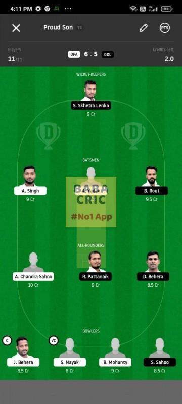 OPA vs ODL (MGM Odisha T20) Dream11 Grand League Team 1