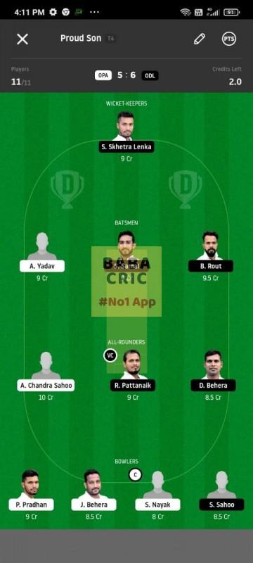 OPA vs ODL (MGM Odisha T20) Dream11 Grand League Team 3