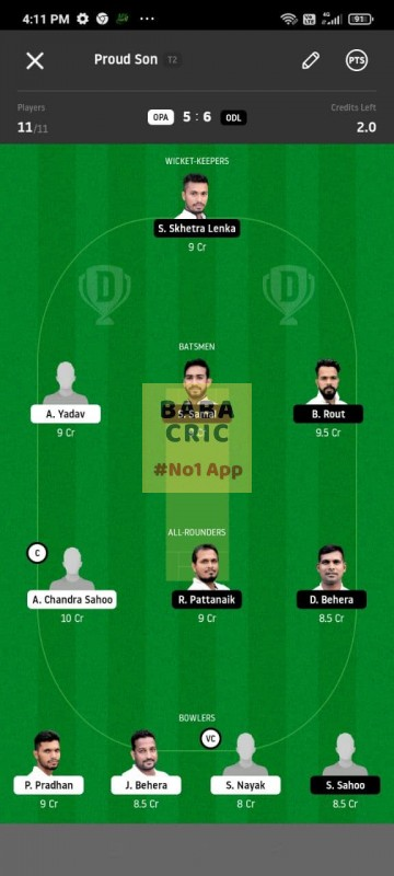 OPA vs ODL (MGM Odisha T20) Dream11 Grand League Team 4