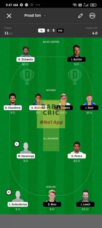 SL vs ENG 1st Test Dream11 Grand League Team 1