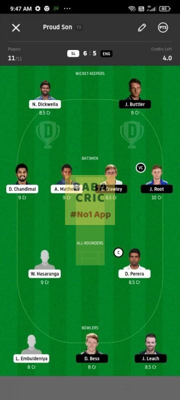 SL vs ENG 1st Test Dream11 Grand League Team 3