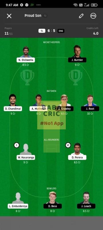 SL vs ENG 1st Test Dream11 Grand League Team 5