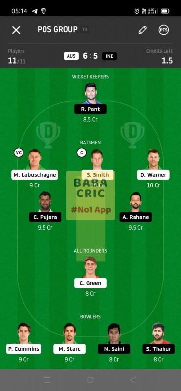 AUS vs IND 4th Test Dream11 Grand League Team 1
