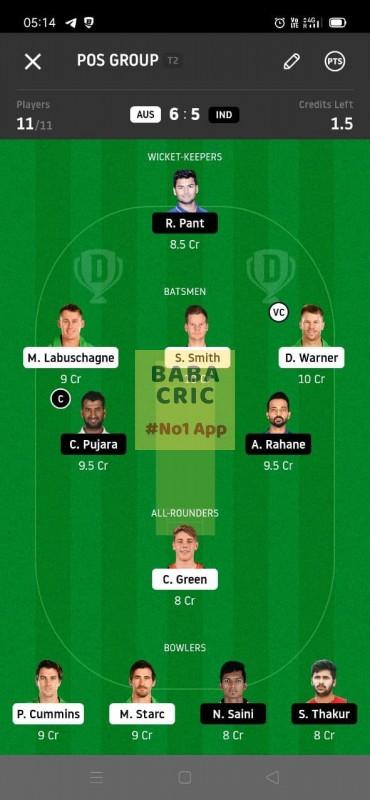 AUS vs IND 4th Test Dream11 Grand League Team 4