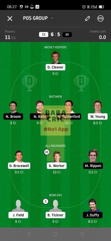 CS vs OV (Super Smash T20) Dream11 Grand League Team 3