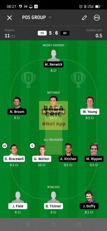 CS vs OV (Super Smash T20) Dream11 Grand League Team 4