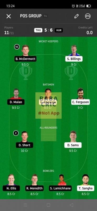 THU vs HUR (KFC Big Bash League T20) Dream11 Grand League Team 5