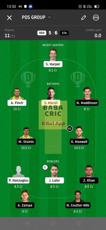 REN vs STA (KFC Big Bash League T20) Dream11 Grand League Team 1