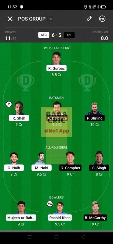 AFG vs IRE 1st ODI Dream11 Grand League Team 3