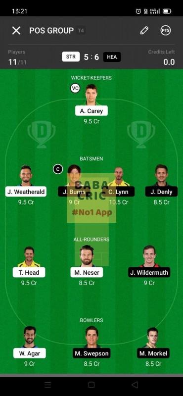 STR vs HEA (KFC Big Bash League T20) Dream11 Grand League Team 3