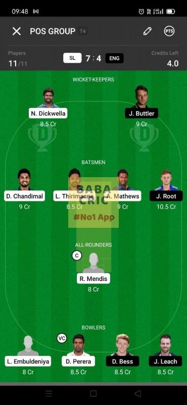 SL vs ENG (England Tour Of Sri Lanka 2021) Dream11 Grand League Team 1