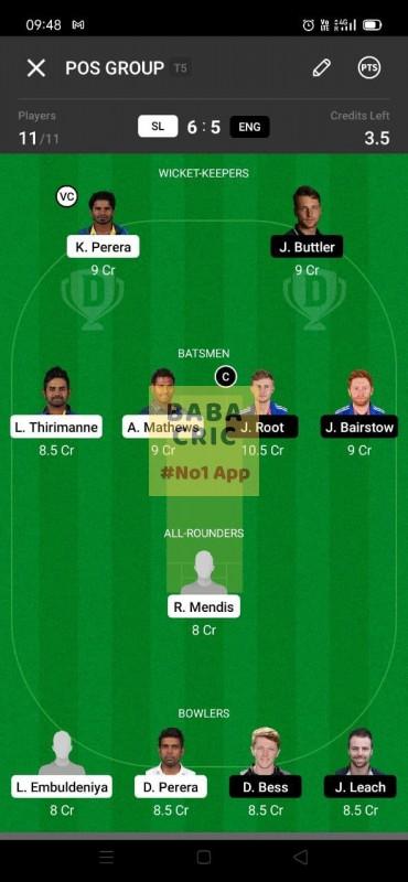 SL vs ENG (England Tour Of Sri Lanka 2021) Dream11 Grand League Team 2
