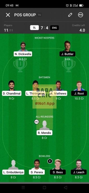 SL vs ENG (England Tour Of Sri Lanka 2021) Dream11 Grand League Team 3