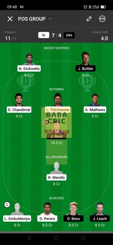SL vs ENG (England Tour Of Sri Lanka 2021) Dream11 Grand League Team 4