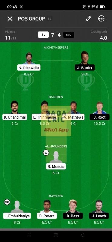 SL vs ENG (England Tour Of Sri Lanka 2021) Dream11 Grand League Team 5