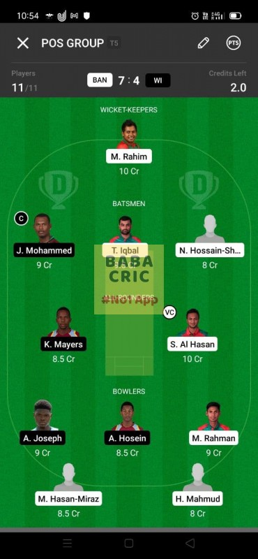 BAN vs WI 2nd ODI Dream11 Grand League Team 3