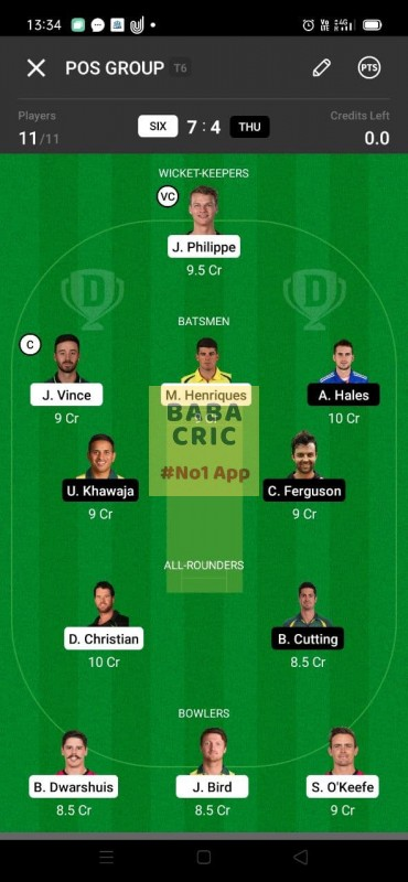 SIX vs THU (KFC Big Bash League T20) Dream11 Grand League Team 1