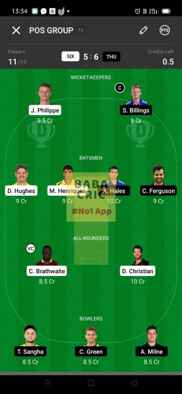 SIX vs THU (KFC Big Bash League T20) Dream11 Grand League Team 3