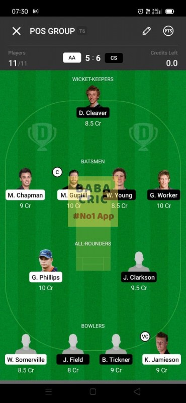 AA vs CS (Super Smash T20) Dream11 Grand League Team 1