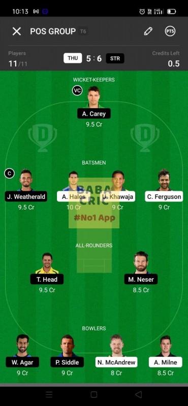 THU vs STR (KFC Big Bash League T20) Dream11 Grand League Team 1