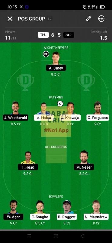 THU vs STR (KFC Big Bash League T20) Dream11 Grand League Team 3