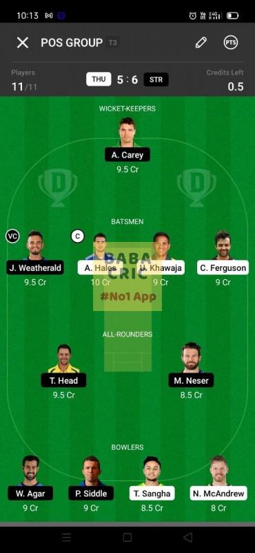 THU vs STR (KFC Big Bash League T20) Dream11 Grand League Team 4