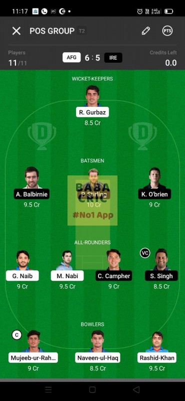 AFG vs IRE (Afghanistan vs Ireland 2021) Dream11 Grand League Team 2