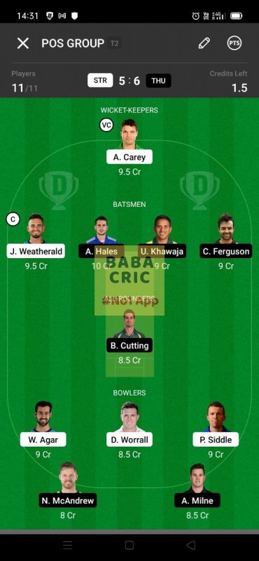 STR vs THU (KFC Big Bash League T20) Dream11 Grand League Team 1