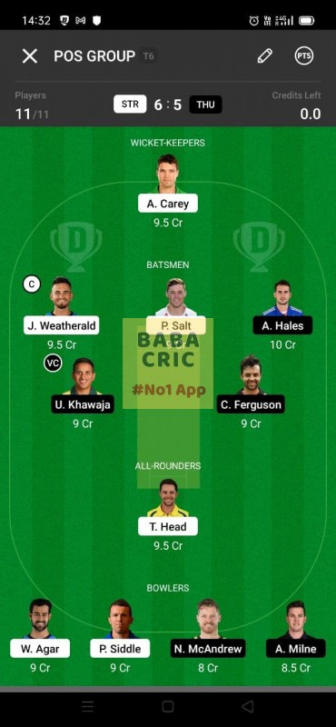 STR vs THU (KFC Big Bash League T20) Dream11 Grand League Team 5
