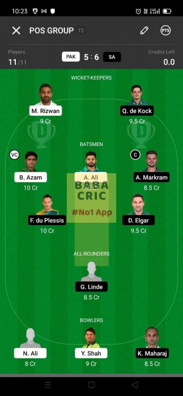 PAK vs SA 1st test Dream11 Grand League Team 1
