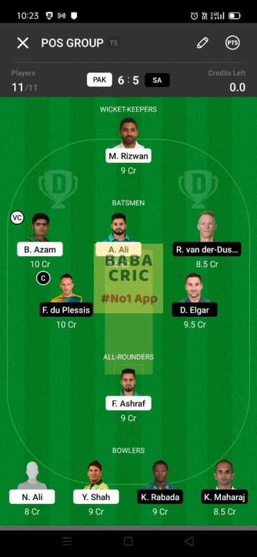 PAK vs SA 1st test Dream11 Grand League Team 3