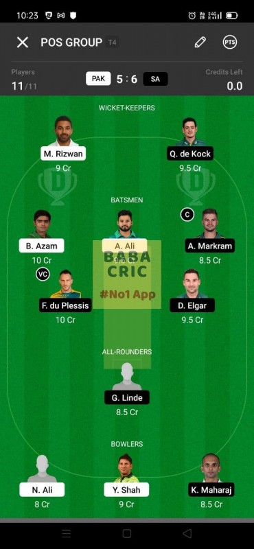 PAK vs SA 1st test Dream11 Grand League Team 4