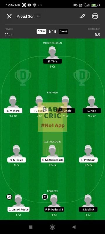 ODP -W vs ODY-W (Odisha Women Cricket League 2021) Dream11 Grand League Team 1