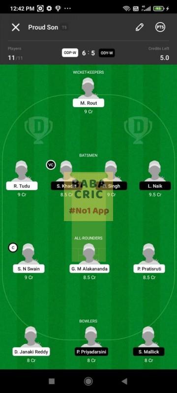 ODP -W vs ODY-W (Odisha Women Cricket League 2021) Dream11 Grand League Team 2