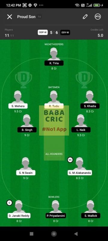 ODP -W vs ODY-W (Odisha Women Cricket League 2021) Dream11 Grand League Team 3
