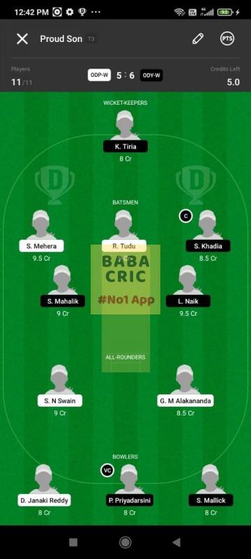 ODP -W vs ODY-W (Odisha Women Cricket League 2021) Dream11 Grand League Team 5