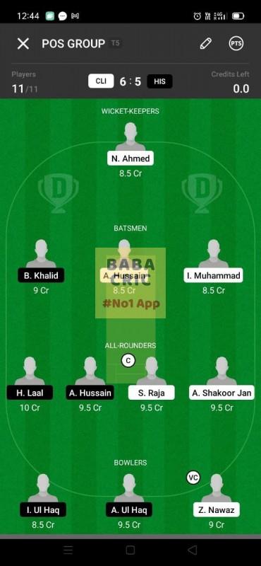 CLI vs HIS (ECS T10- Barcelona) Dream11 Grand League Team 4