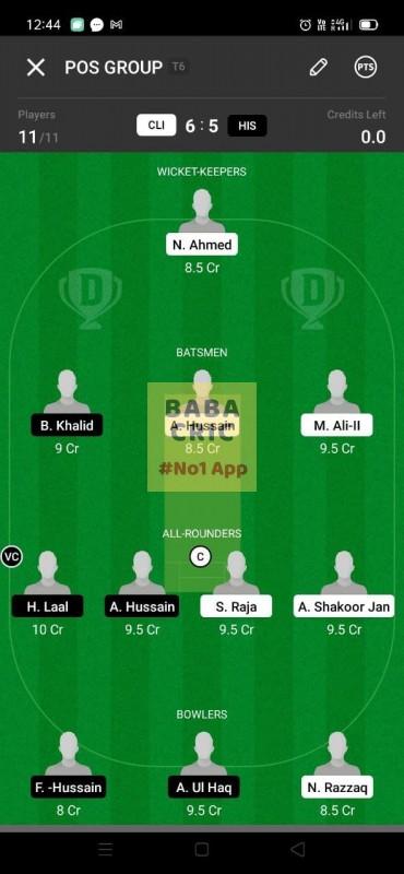 CLI vs HIS (ECS T10- Barcelona) Dream11 Grand League Team 5