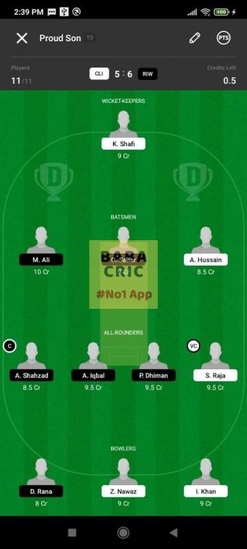 CLI vs RIW (ECS T10- Barcelona) Dream11 Grand League Team 2