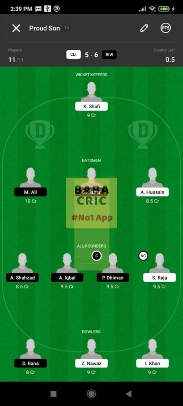 CLI vs RIW (ECS T10- Barcelona) Dream11 Grand League Team 3