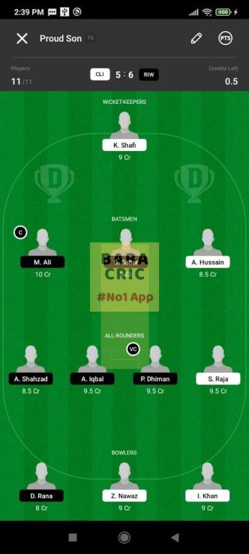 CLI vs RIW (ECS T10- Barcelona) Dream11 Grand League Team 5