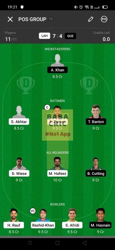 LAH vs QUE (Pakistan Super League T20-2021) Dream11 Grand League Team 1