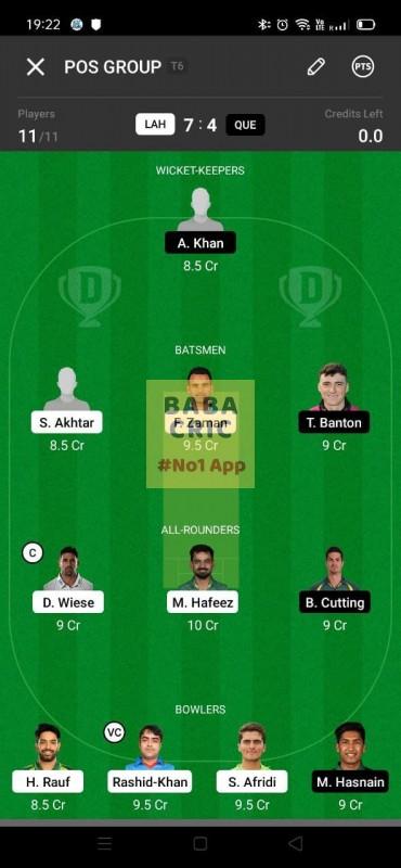 LAH vs QUE (Pakistan Super League T20-2021) Dream11 Grand League Team 3