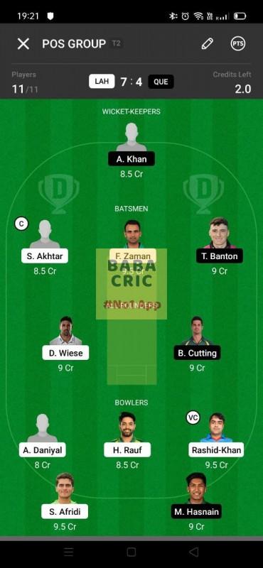 LAH vs QUE (Pakistan Super League T20-2021) Dream11 Grand League Team 4