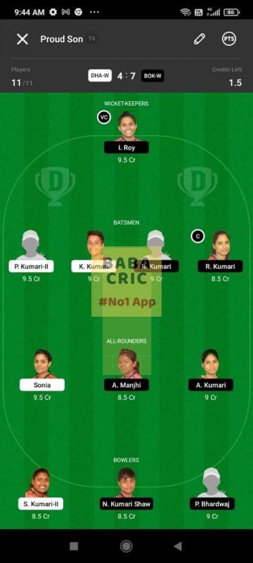DHAW vs BOKW (Jharkhand Women T20-2021) Dream11 Grand League Team 1